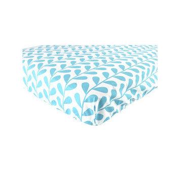 Baby Vision Luvable Friends Printed Leaf Crib Sheet Color: Blue