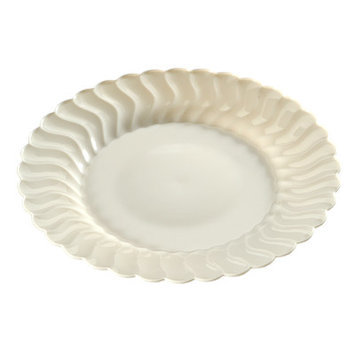 Fineline Settings, Inc Flairware Round Rippled Disposable Plastic Dessert Plate (180/Case), Bone