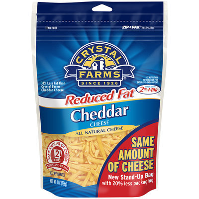 Crystal Farms® Shredded Reduced Fat Cheddar Cheese 8 oz. Zip Pak®