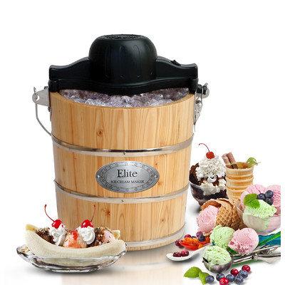 Elite Gourmet 4-qt. Wood Bucket Ice Cream Maker