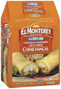 El Monterey All Natural Chicken & Monterey Jack Cheese 12 Ct Chimichangas 3.75 Lb Bag