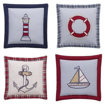 Bacati Boys Stripes and Plaids 4 Piece Wall Hangings