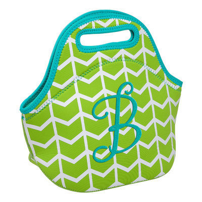 Occasionally Made Lime Geometric 'B' Insulated Lunch Bag