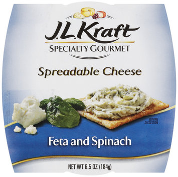 J.L. Kraft Feta & Spinach Spreadable Cheese Specialty Gourmet 6.5 Oz Sleeve
