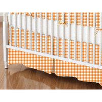 Stwd Primary Gingham Woven Crib Skirt Color: Orange