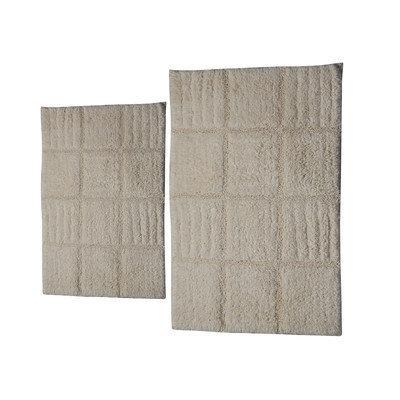 Textile Decor Castle 2 Piece 100% Cotton Chakkar Board Spray Latex Bath Rug Set, 24 H X 17 W and 40 H X 24 W