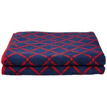 Simple Luxury Superior Luxurious Diamonds Bath Sheet (Set of 2), Red/Navy Blue