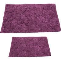 Textile Decor Castle 2 Piece 100% Cotton Palm Spray Bath Rug Set, 24 H X 17 W and 34 H X 21 W, Aubergine