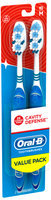 Oral-B Cavity Defense 40 Medium Bristle Toothbrush 2 ct Carded Pack