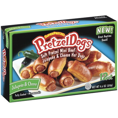 SuperPretzel Jalapeno & Cheese 12 Ct Pretzel Dogs 9.6 Oz Box