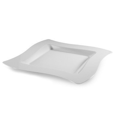 Fineline Settings, Inc Wavetrends Square Dinner Plate (Pack of 120), 10 W x 10 D, Bone