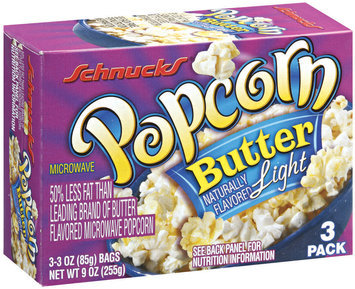 Schnucks Microwave Butter Light 3-3 Oz Bags Popcorn 9 Oz Box