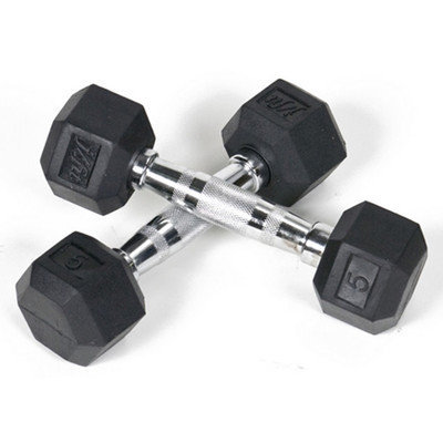 Pair of Rubber Coated Hex Dumbbells - Size: 12 lbs