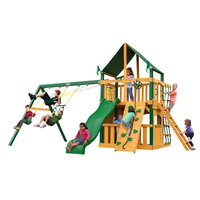 Gorilla Playsets Playground Equipment. Chateau II Clubhouse with Timber Shield and Sunbrella Canvas Forest Green Canopy Cedar Playset