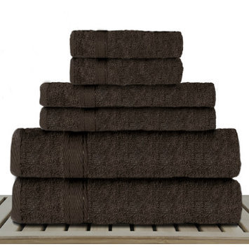 Linen Depot Direct Sandra Venditti Bamboo 6 Piece Towel Set, Chocolate