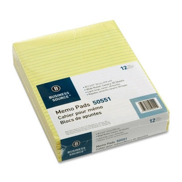Business Source 50551 Memorandum Pads 8-1/2inx11in Wide Ruled 50Shts/PD Canary