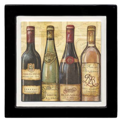 Thirstystone ANCA4 Absorbent Coaster Set Bottled at the Vineyard- Black Frame