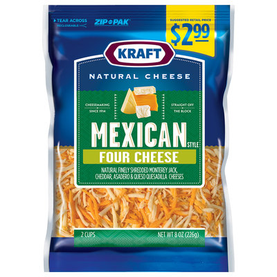 Kraft Natural Cheese Mexican Style Four Cheese Shredded Cheese Blend 8 oz. Bag
