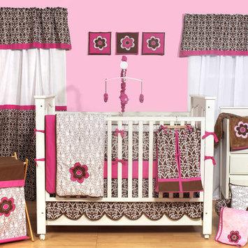 Bacati Pink/Chocolate Damask 10 pc Crib Set