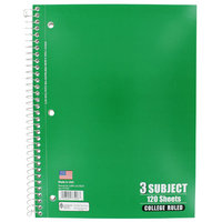 Norcom, Inc 3 Subject College Ruled Notebook