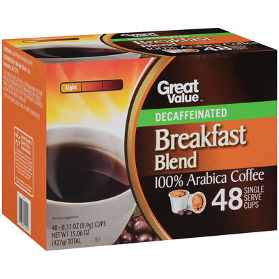 Great Value™ Decaffeinated Breakfast Blend Light 100% Arabica Coffee 48-0.31 oz. Cups