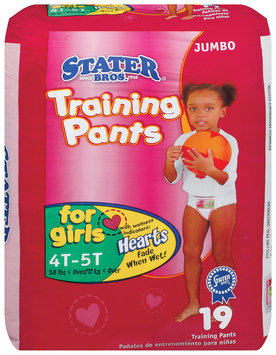 Stater Bros. Girls 4t to 5t 38 Lbs & Over Jumbo Pack Training Pants 19 Ct Bag