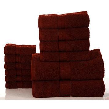 Affinity Linens Bano Senses 600 GSM Egyptian Cotton 12 Piece Towel Set, Biking Red