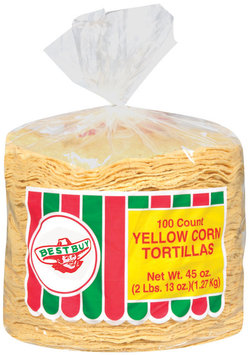 Best Buy 100 Ct Tortillas Yellow Corn 45 Oz Poly Bag