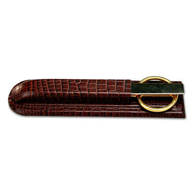 Dacasso Brown Crocodile Embossed Leather Library Set
