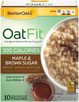 BetterOats® Oat Fit® Maple & Brown Sugar Instant Oatmeal 10 ct Pouches