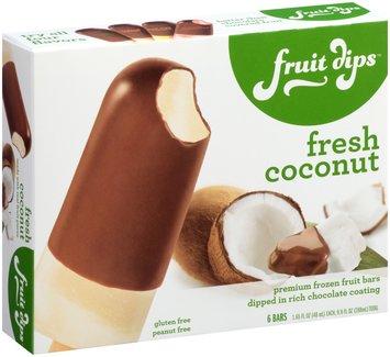 Fruit Dips™ Fresh Coconut Premium Frozen Fruit Bars Dipped in Rich Chocolate Coating 6-1.65 fl. oz. Bars