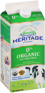 Stremicks Heritage Foods® Organic Fat Free Milk 0.5 gal. Carton