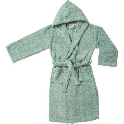 Simple Luxury Egyptian Cotton Kids Hooded Bathrobe, Large, Sage