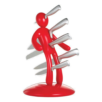 The EX By Raffaele Iannello The Ex 2nd Edition Five Piece Knife Set with Holder in Red (Set of 5)