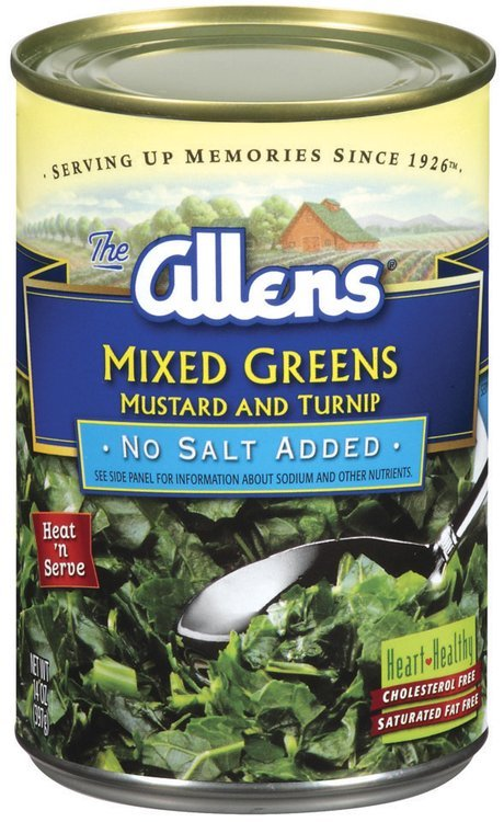 The Allens Mustard & Turnip No Salt Added Mixed Greens 14 Oz Can
