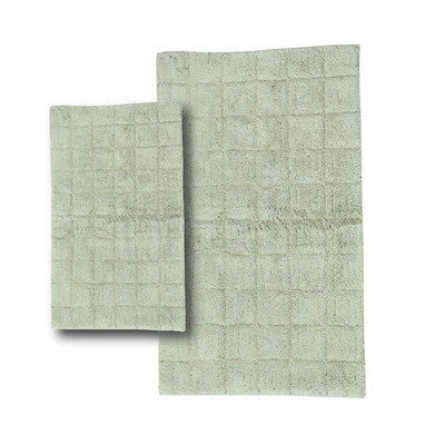 Textile Decor Castle 2 Piece 100% Cotton Summer Tile Spray Latex Bath Rug Set, 24 H X 17 W and 34 H X 21 W