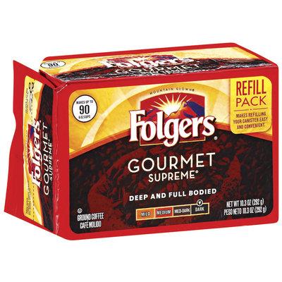 Folgers Gourmet Supreme Dark Refill Pack Ground Coffee 10.3 Oz Brick