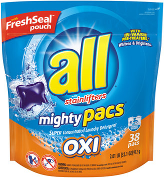 All® Free and Clear Oxi Mighty Pacs® Laundry Detergent 32.1 oz. Pack