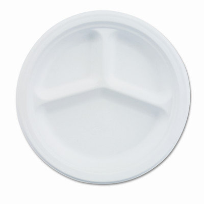 HUHTAMAKI VISTACT Paper Dinnerware 3-compartment Plate 9-1/4 Diameter White 500/carton