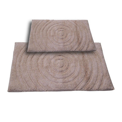 Textile Decor Castle 2 Piece 100% Cotton Echo Spray Latex Bath Rug Set, 24 H X 17 W and 30 H X 20 W, Natural