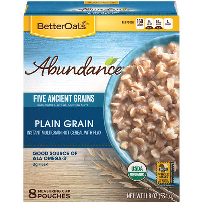 Better Oats® Abundance® Organic Plain Grain Instant Multigrain Hot Cereal with Flax 8 ct Pouches