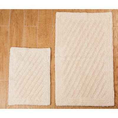 Textile Decor Castle 2 Piece 100% Cotton Shooting Star Reversible Bath Rug Set, 24 H X 17 W and 34 H X 21 W