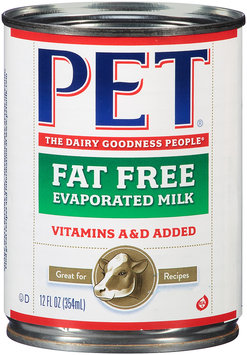 Pet® Evaporated Fat Free Milk 12 fl oz Can
