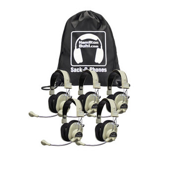 Hamilton Buhl Sack-O-Phones, 5 HA-66USBSM Deluxe USB Headphones w/ Mic In A Carry Bag - Stereo - Black - USB - Wired - 32 Ohm - 18 Hz - 20 kHz - Over-the-head - Binaural - Circumaural - 7 ft Cable - Omni-directional Microphone