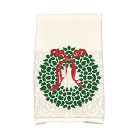E By Design Holiday Wishes Gate Wreath Hand Towel Color: White/Green/Red