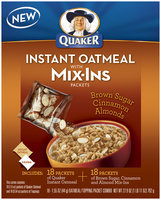 Quaker® Oatmeal W/Mix-ins Packets Brown Sugar Cinnamon Almonds Instant Oatmeal