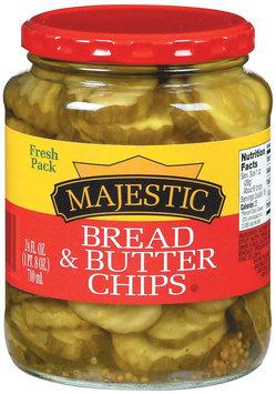 Majestic Bread & Butter Chips Pickles 24 Oz Jar