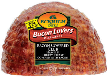 Eckrich Bacon Lovers Bacon Covered Club Ham & Turkey Breast Deli Meat