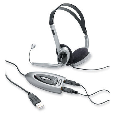 Compucessory Multimedia USB Stereo Headset, Black and silver