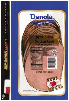 Danola Supreme Smoked Sliced Ham Black Forest  8 Oz Zip Pak